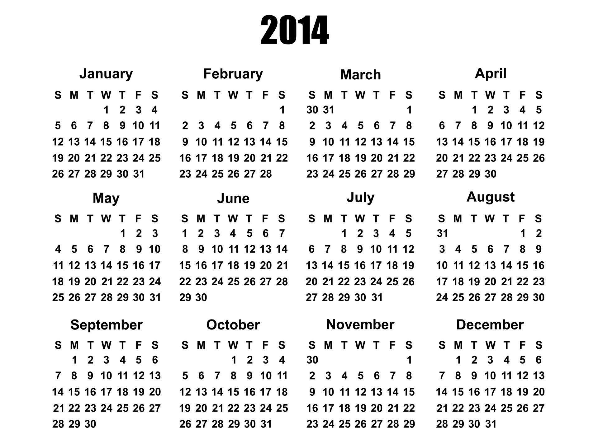 2014 Nbsp Calendar 2014 Calendar Template Year Free Photo From