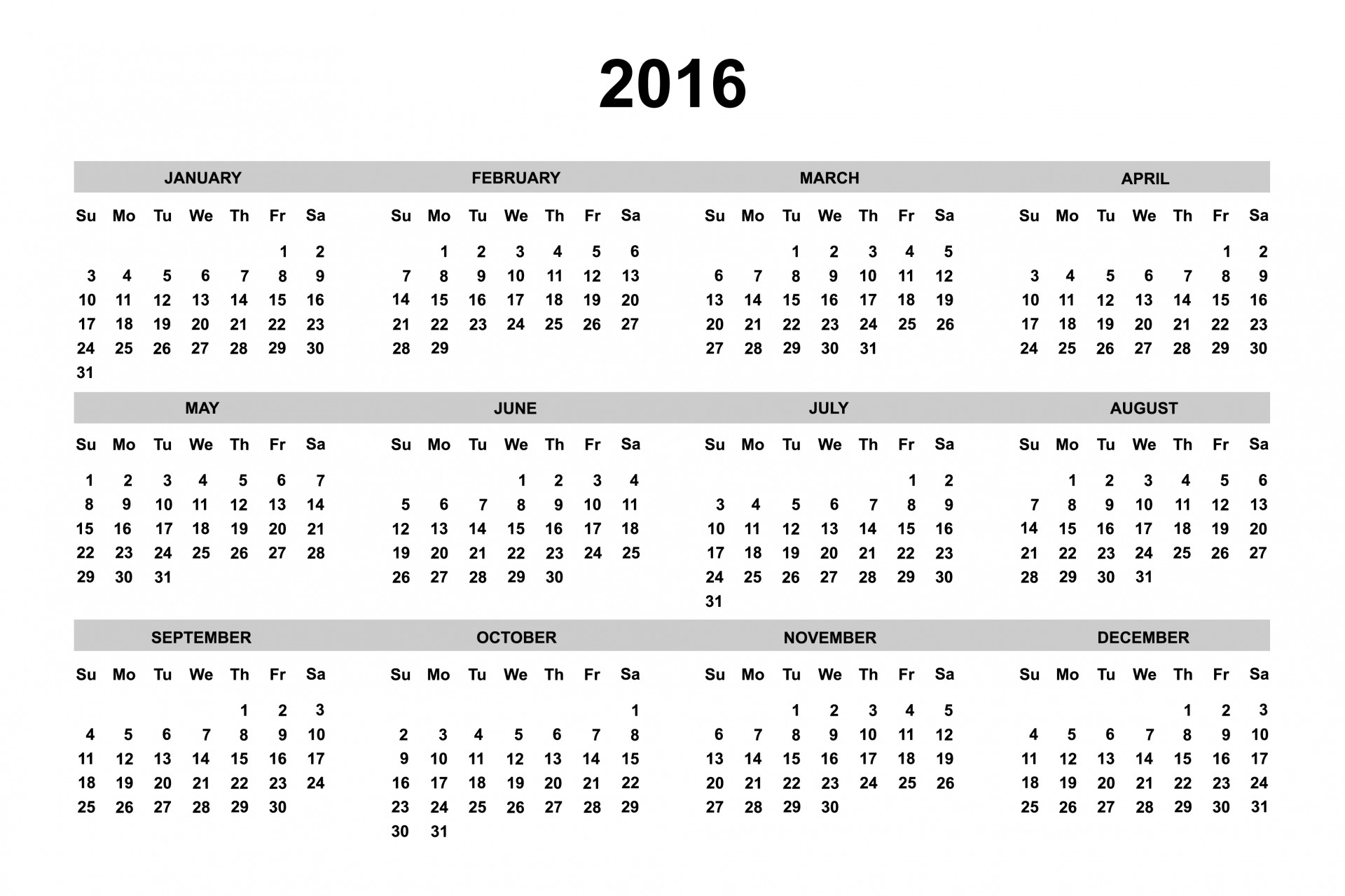 Free Downloadable 2016 Calendar Template from storage.needpix.com