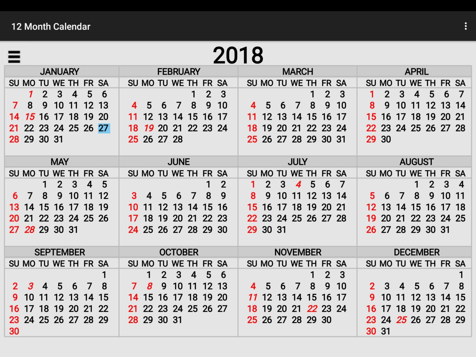 Simple,2018,annual,calendar,12 - free image from needpix.com