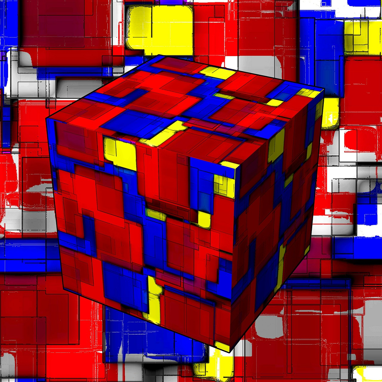 abstract cube art free photo