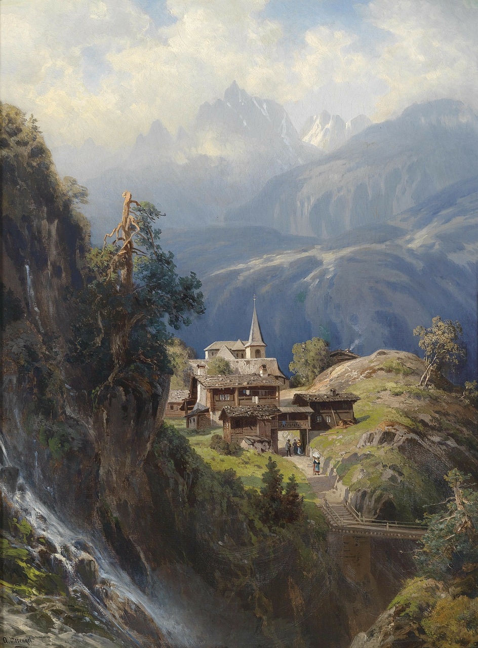 adolf dorf painting oil on canvas free photo