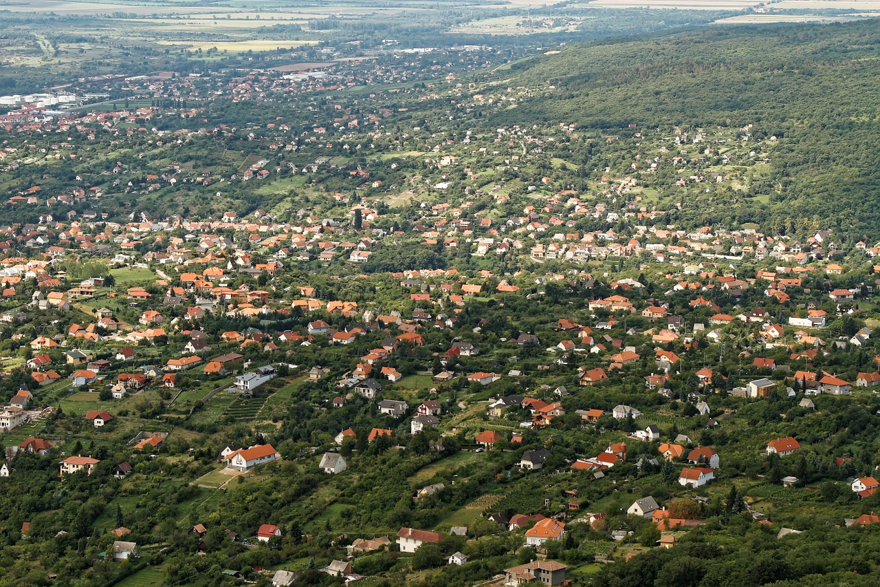 aerial view town suburb free photo