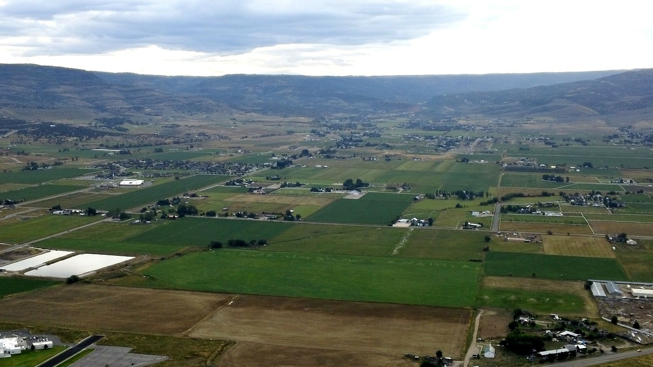 aerial view landscape fields free photo