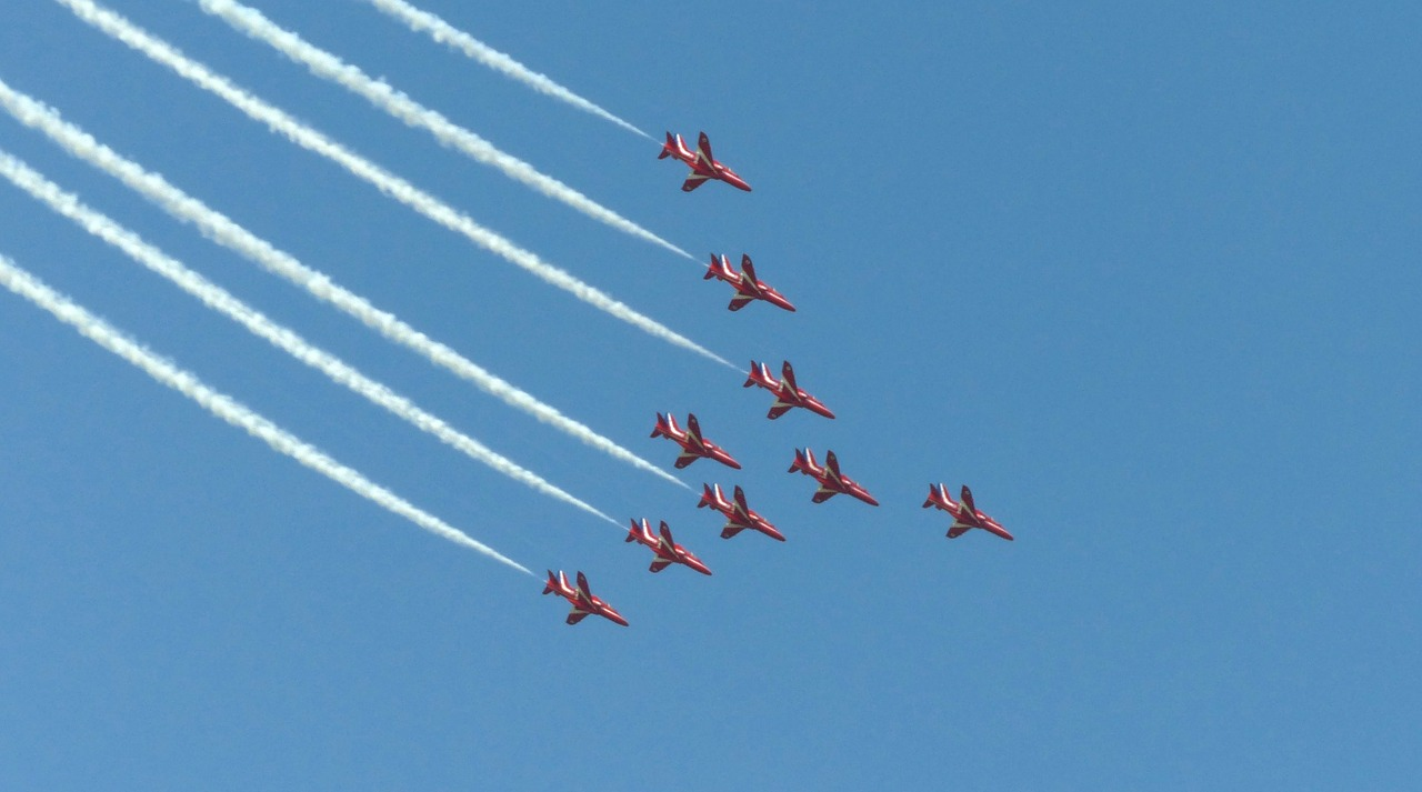 Air plane,red arrows,flying,aviation,jet - free photo from
