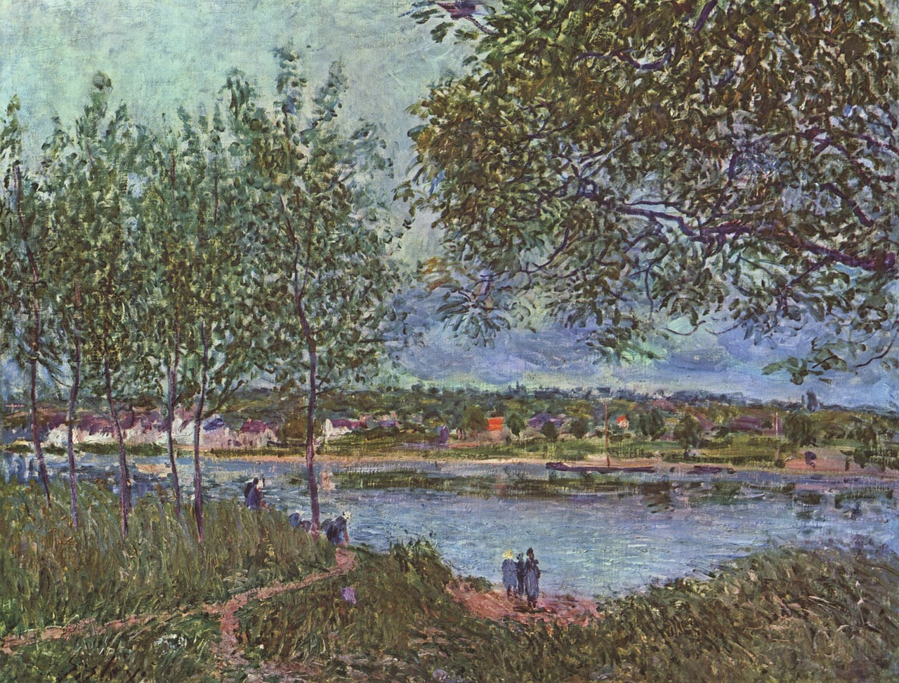 alfred sisley painting oil on canvas free photo