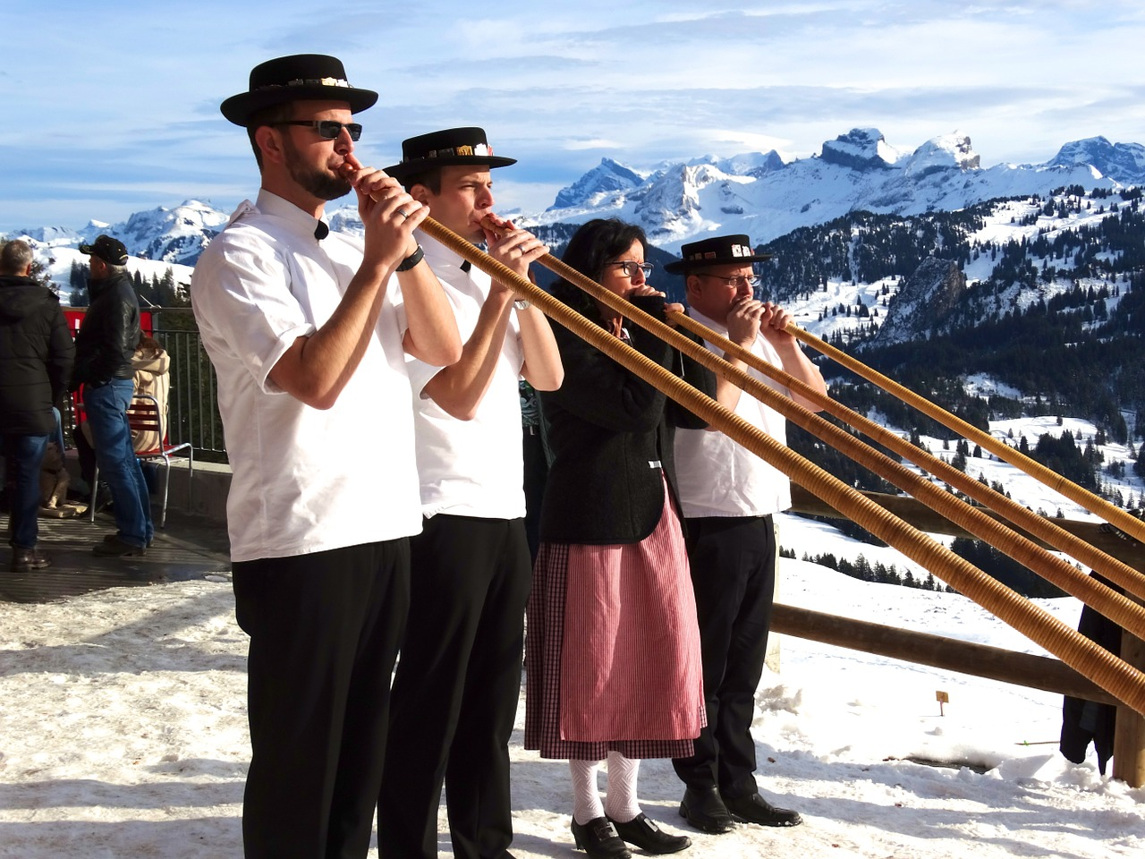 alphorn blowers snow mountains folklore free photo