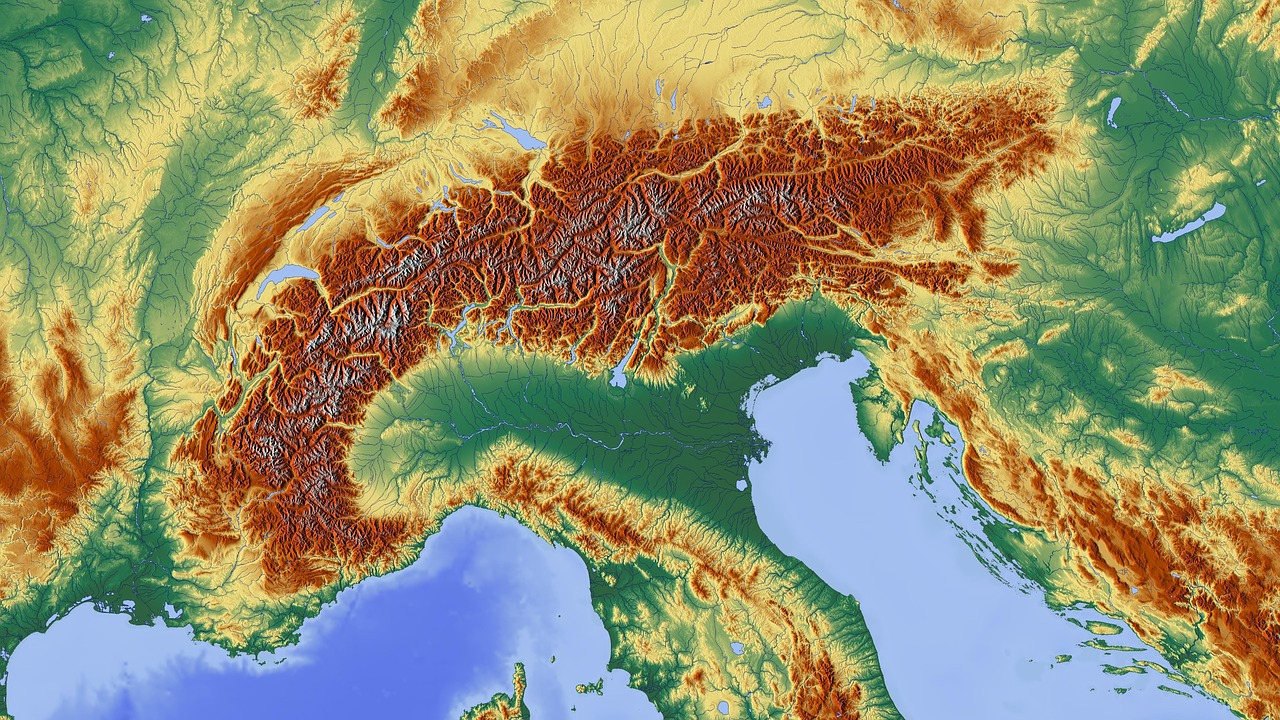 Elevation Map Of Germany.Alpine Map Alpine Region Mountains Alpine Campaign Free Photo From