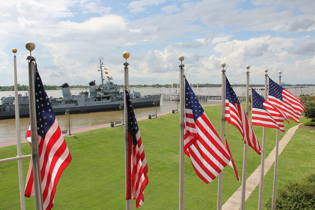 american flags,flag,flags,american,louisiana,battleship,uss kidd,harbor,historical,sailing,ship,vessel,navy,us navy,baton rouge,free pictures, free photos, free images, royalty free, free illustrations, public domain
