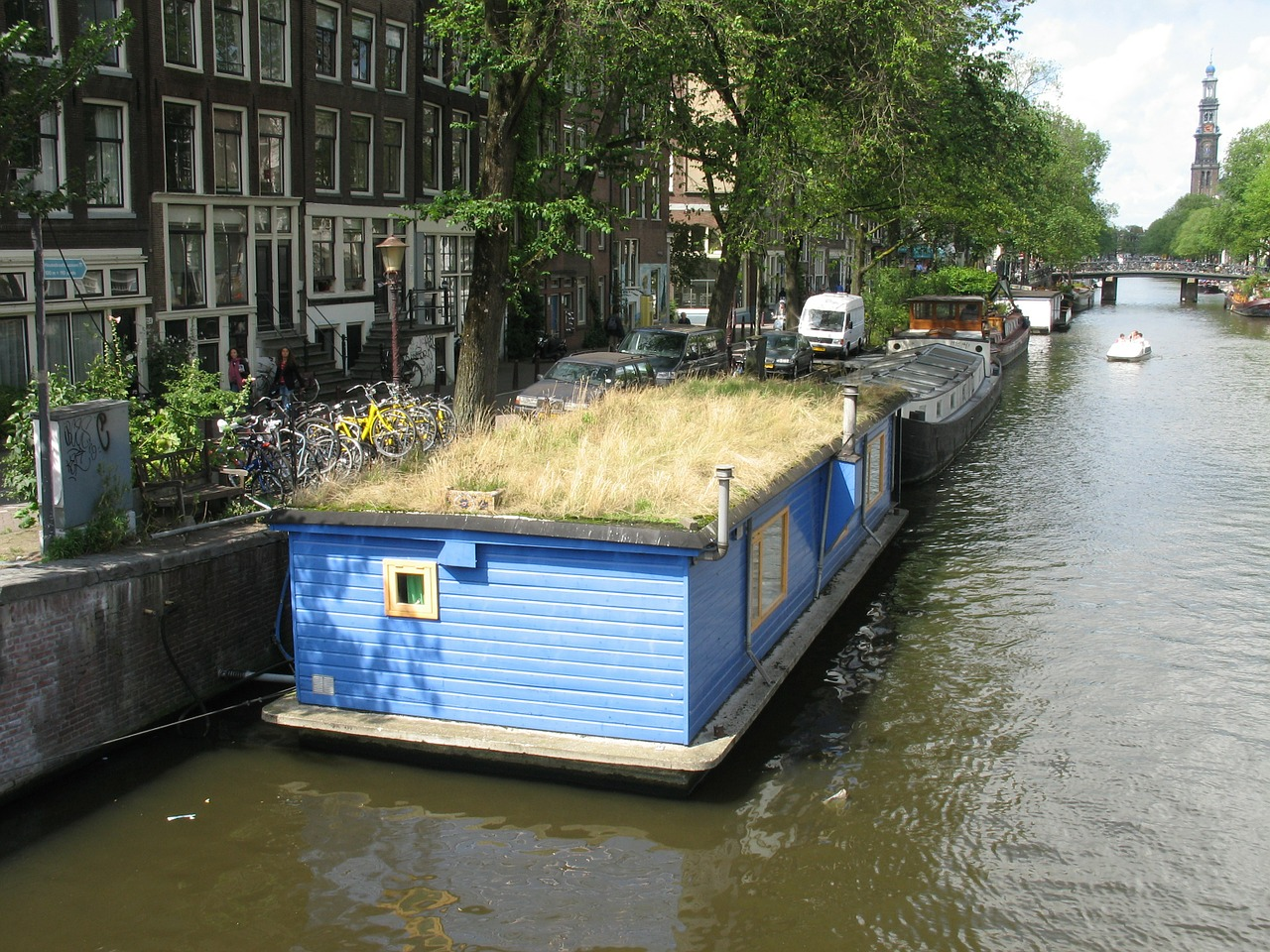 amsterdam the barge channel free photo