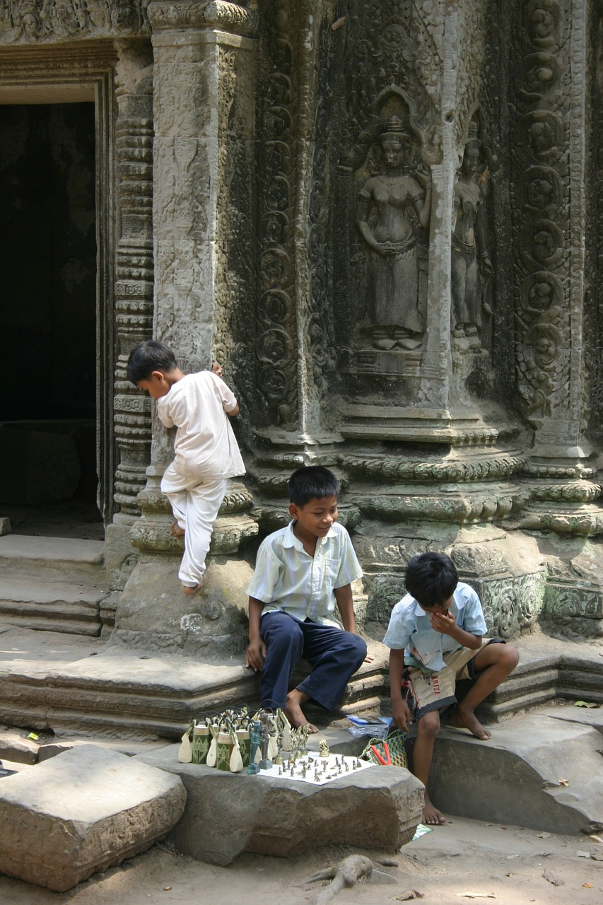 angkor kids cambodia free photo