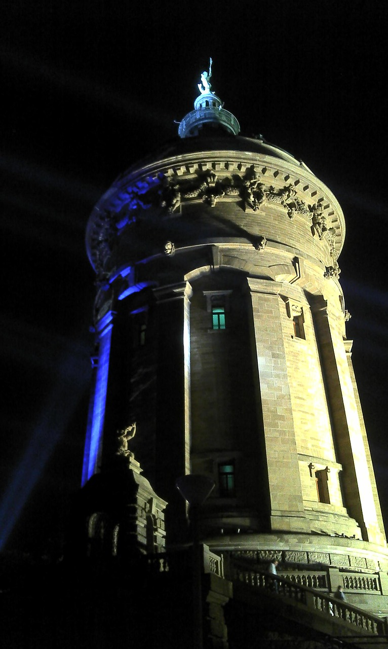 architecture water tower water tower at night free photo