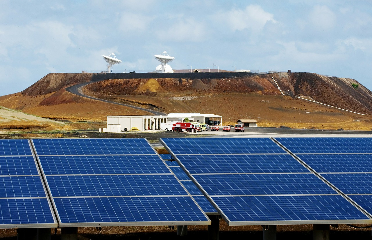 ascension island solar panels sky free photo