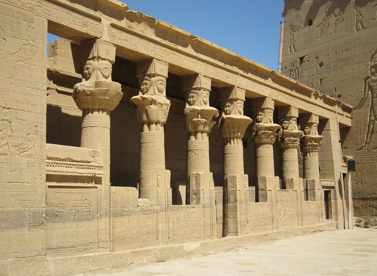 aswan horus temple nile free photo