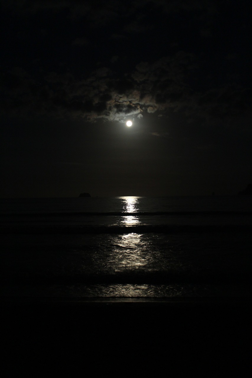 at night moon wave free photo