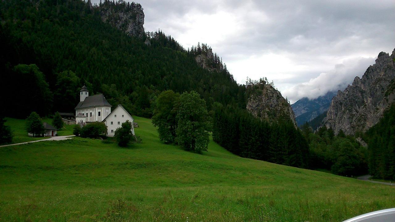 Austria Church View Mountains Trees Free Photo From Needpix Com