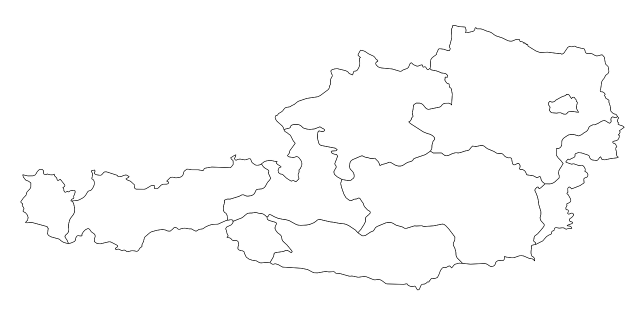 austria map regions land borders free photo