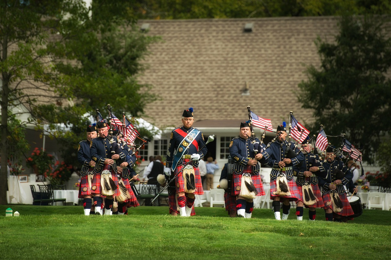 bagpipes and drummers music flags free photo