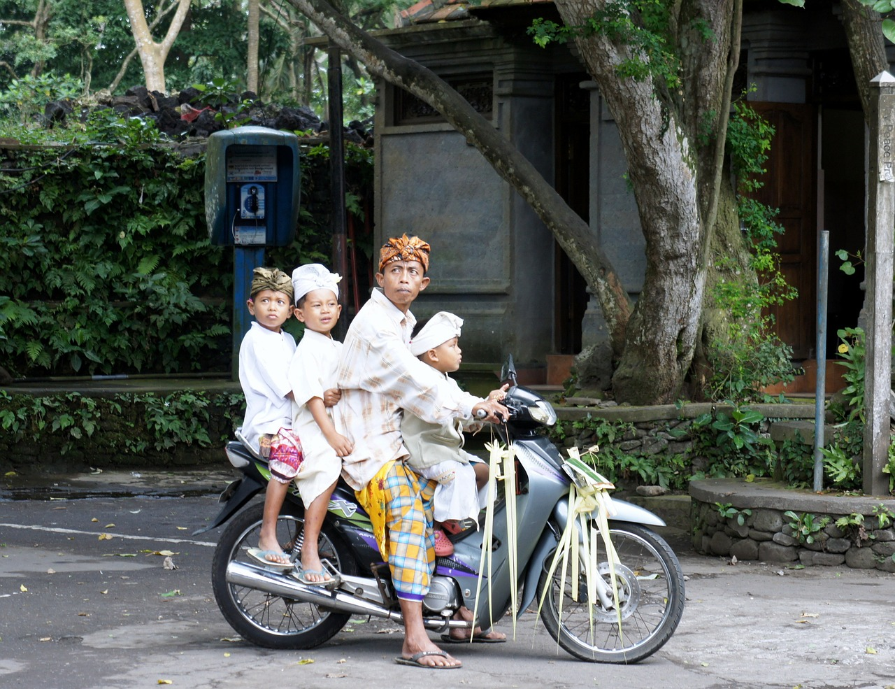 bali temple festival motorcycle free photo