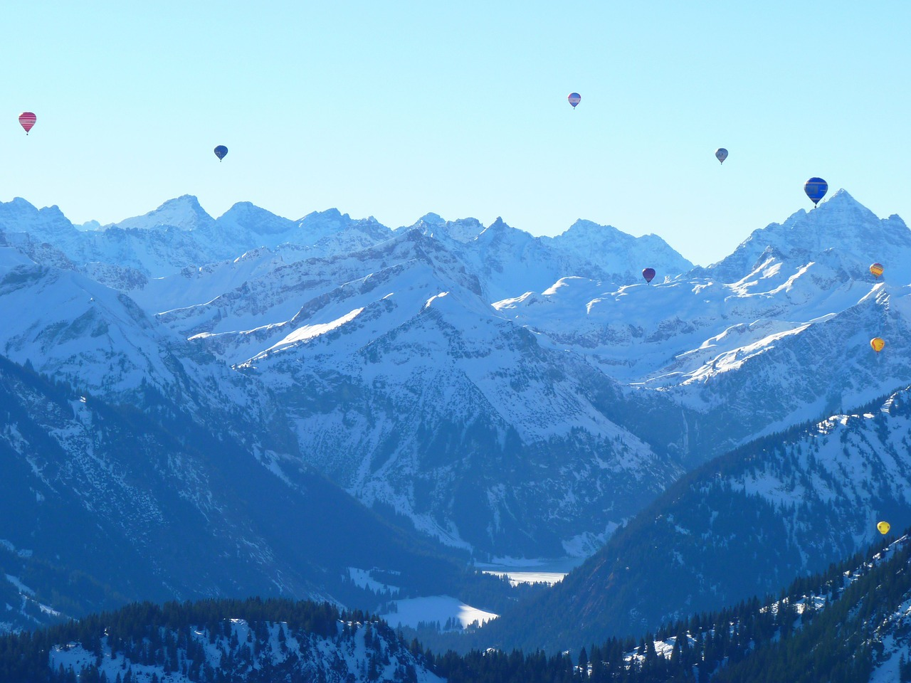 balloon hot air balloon mountains free photo