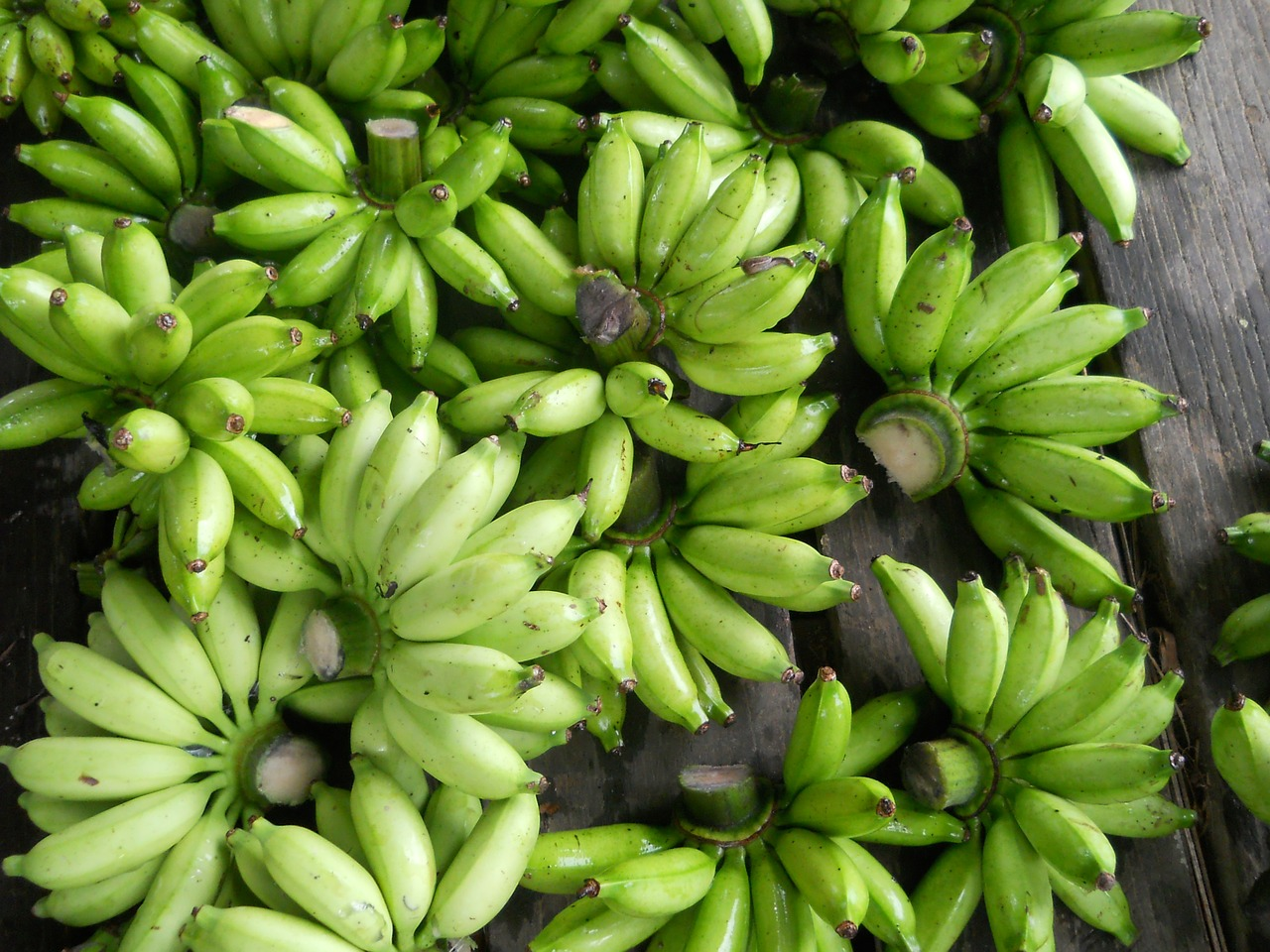 bananas fruits green free photo