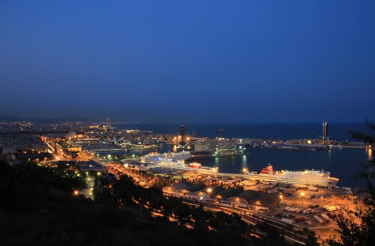 barcelona port blue hour free photo