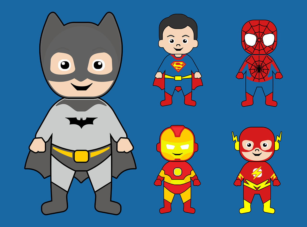 batman,superman,iron man,spiderman,super hero,comic,cartoon,character,child,cute,free vector,free image,action hero,free vector graphics,free pictures, free photos, free images, royalty free, free illustrations