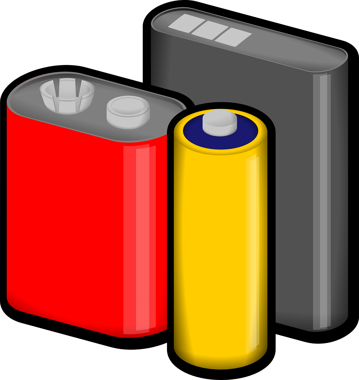 batteries red yellow free photo