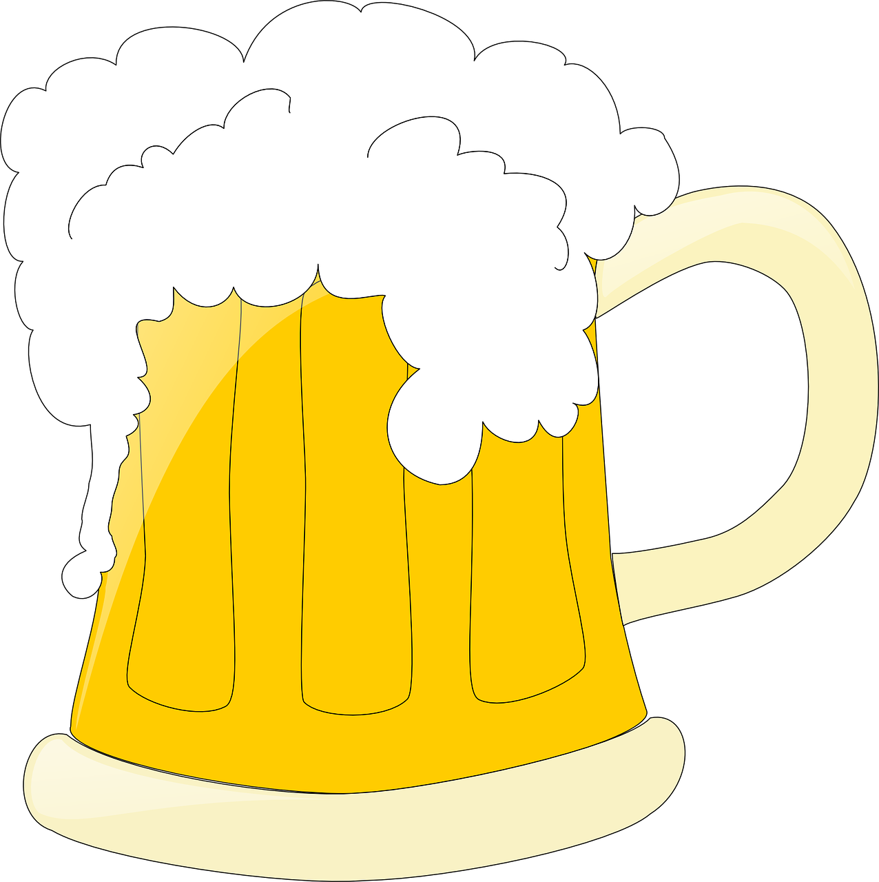 beer,mug,foam,alcohol,glass,beverage,drink,lager,froth,ale,pint,refreshment,yellow,booze,free vector graphics,free pictures, free photos, free images, royalty free, free illustrations, public domain