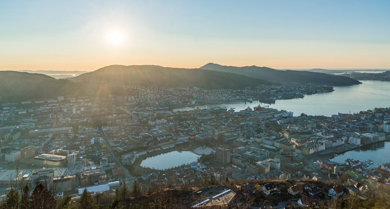 bergen noway sunset free photo