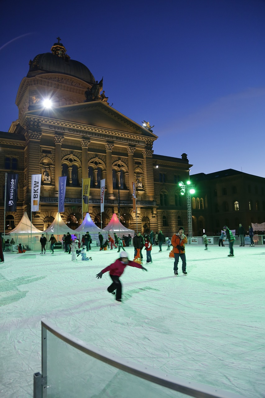 bern bundeshaus ice rink free photo