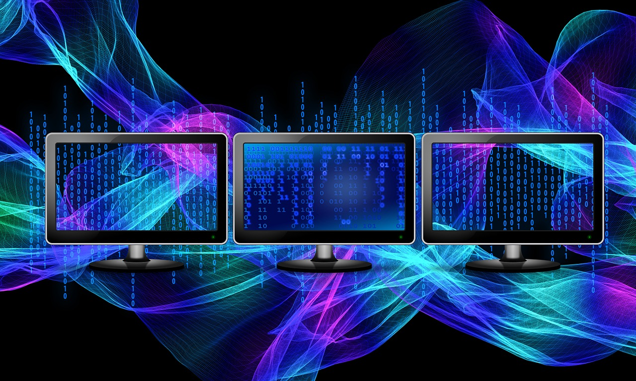 Download free photo of Binary,monitor,particles,blue,numbering system -  from needpix.com