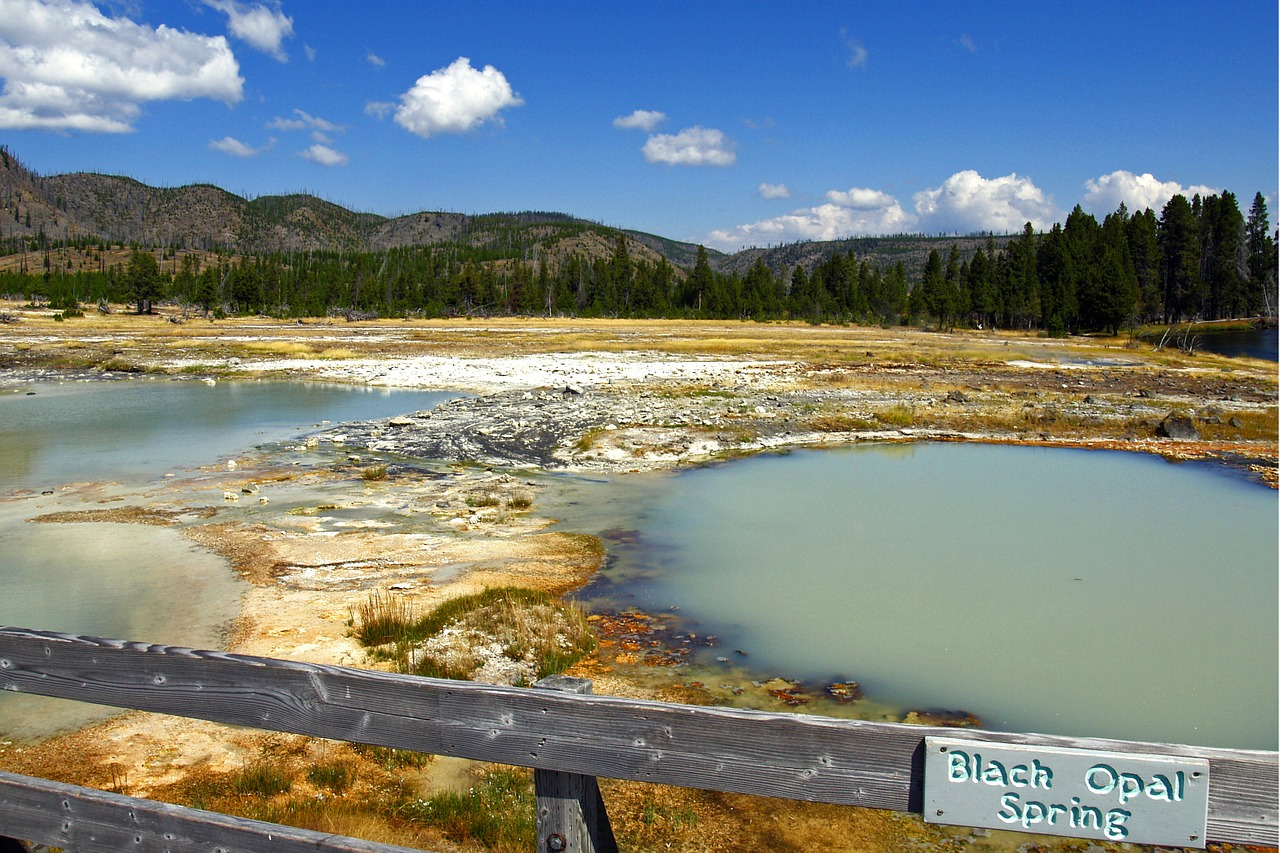 black opal spring yellowstone national park wyoming free photo