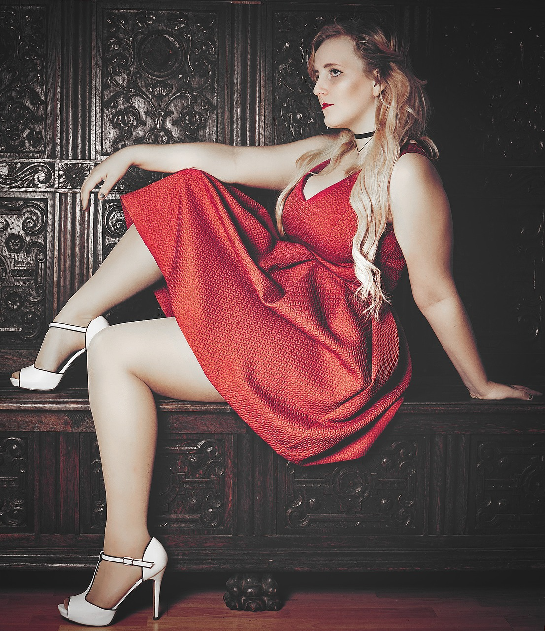 blond red dress high heels free photo