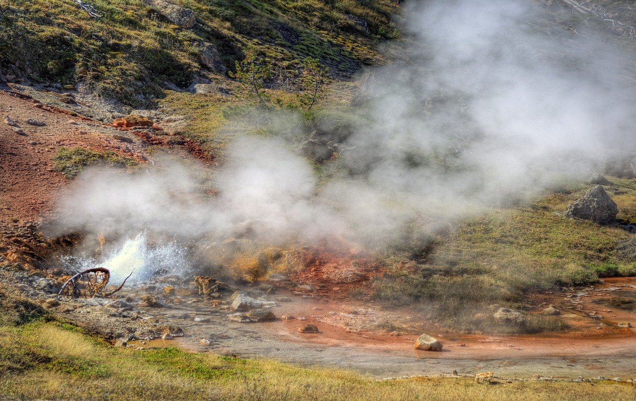 blood geyser  yellowstone national park  landscape free photo