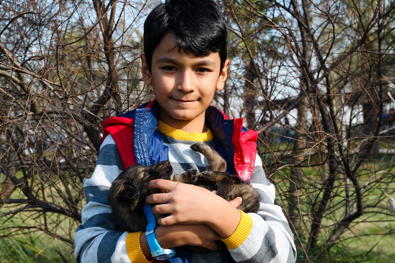 boy and dog dog puppies free photo