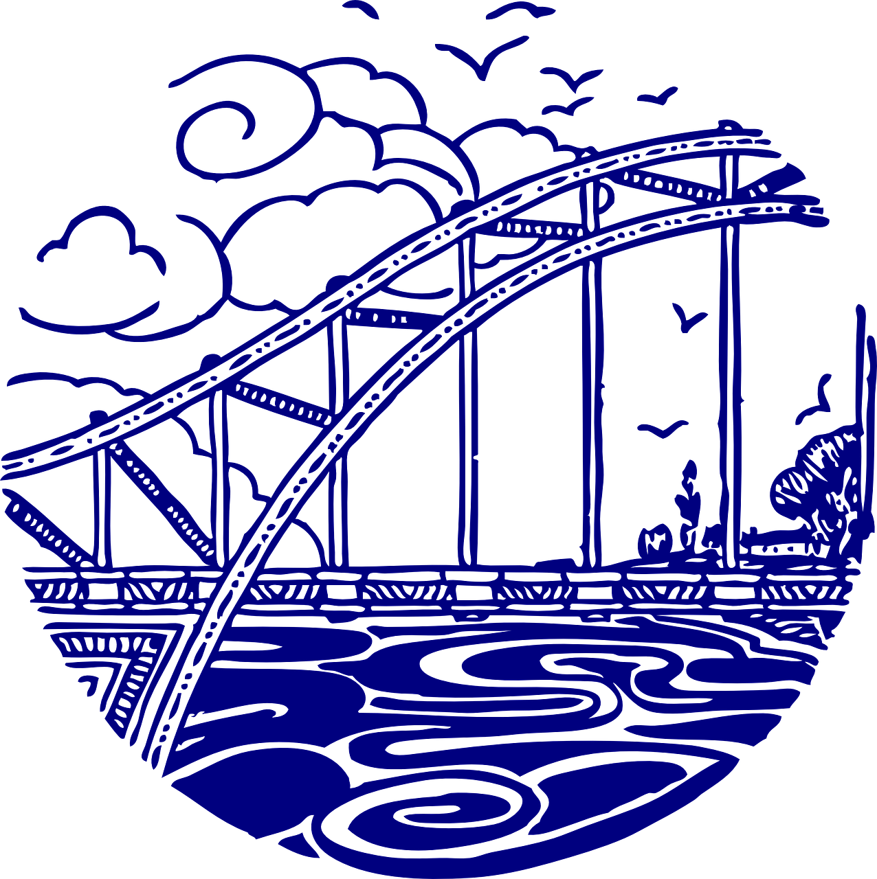 bridge,water,river,bay,crossover,clouds,infrastructure,free vector graphics,free pictures, free photos, free images, royalty free, free illustrations, public domain