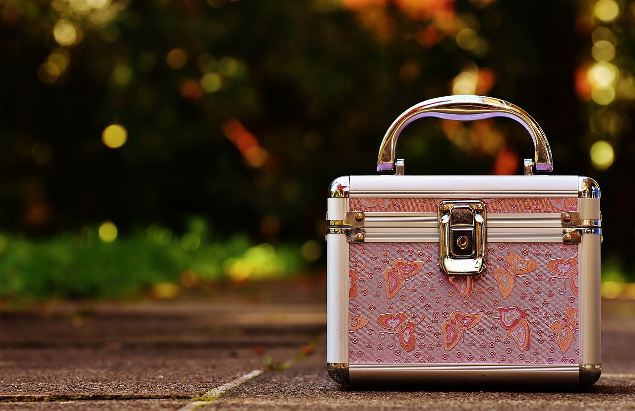 briefcase pink silver free photo