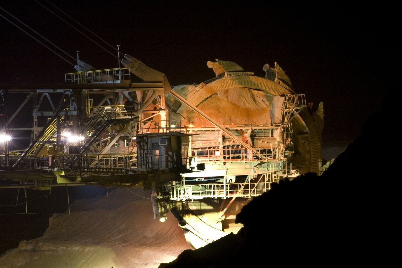 brown coal open pit mining bucket wheel excavators free photo