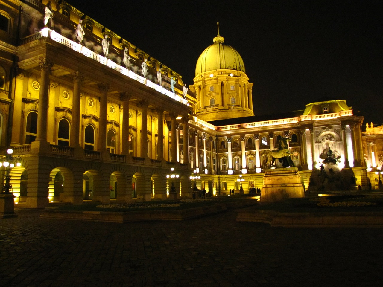 buda building in the evening free photo