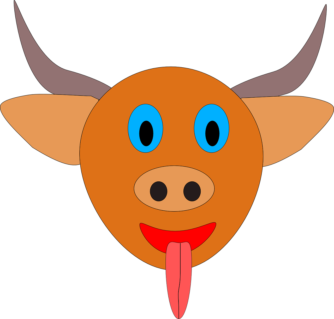 bull horns orange free photo
