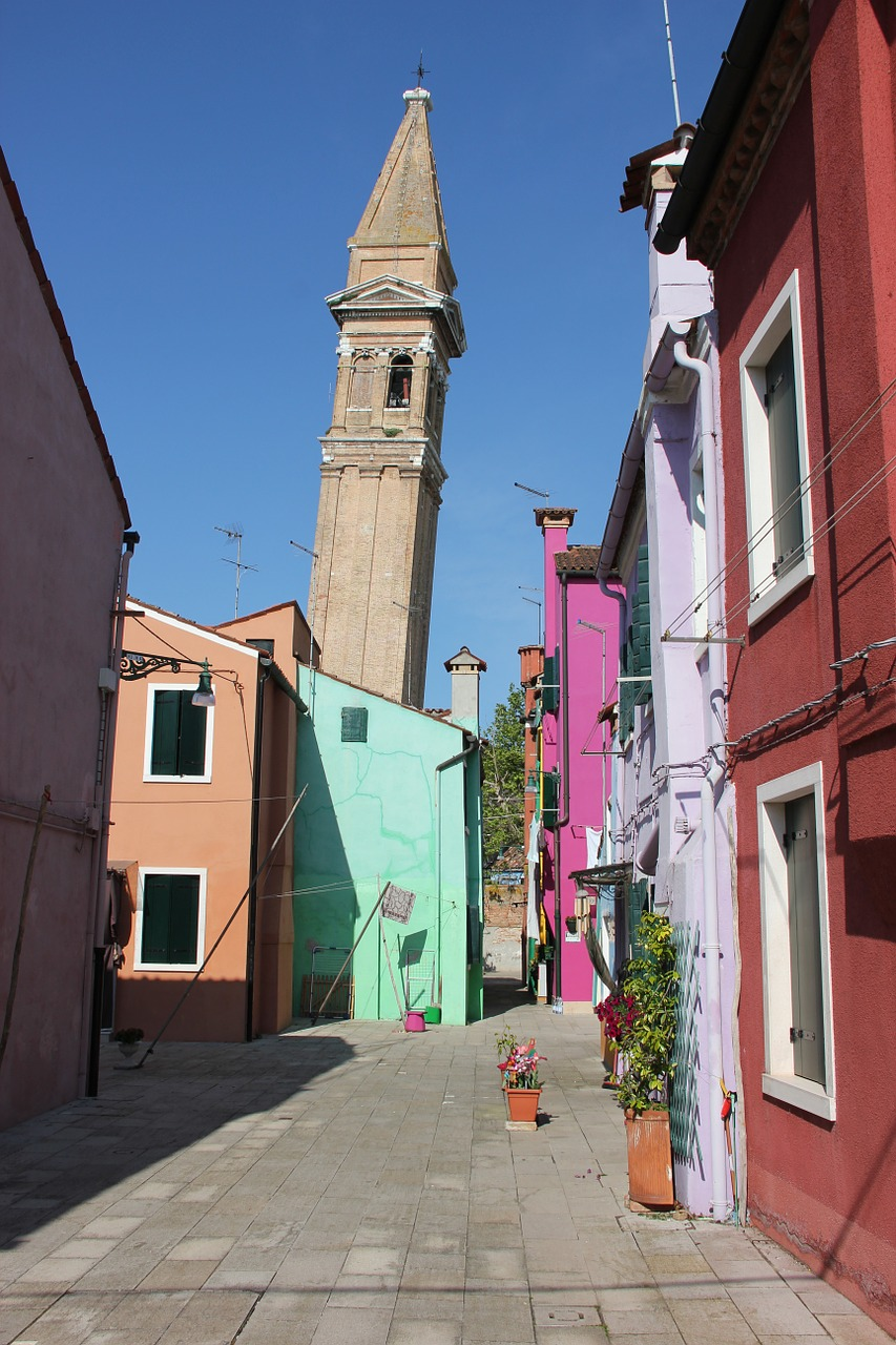 burano,italy,leaning tower,colourful houses,wrong location,campanile,free pictures, free photos, free images, royalty free, free illustrations, public domain
