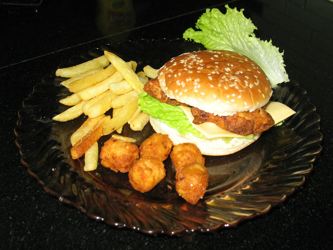burger french fries meal free photo
