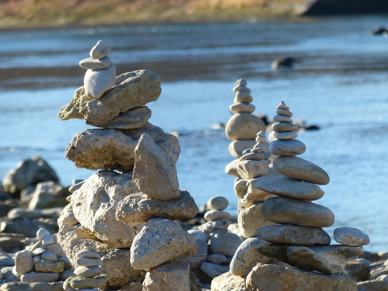 Cairn,water,river,stones,stone tower - free image from needpix.com