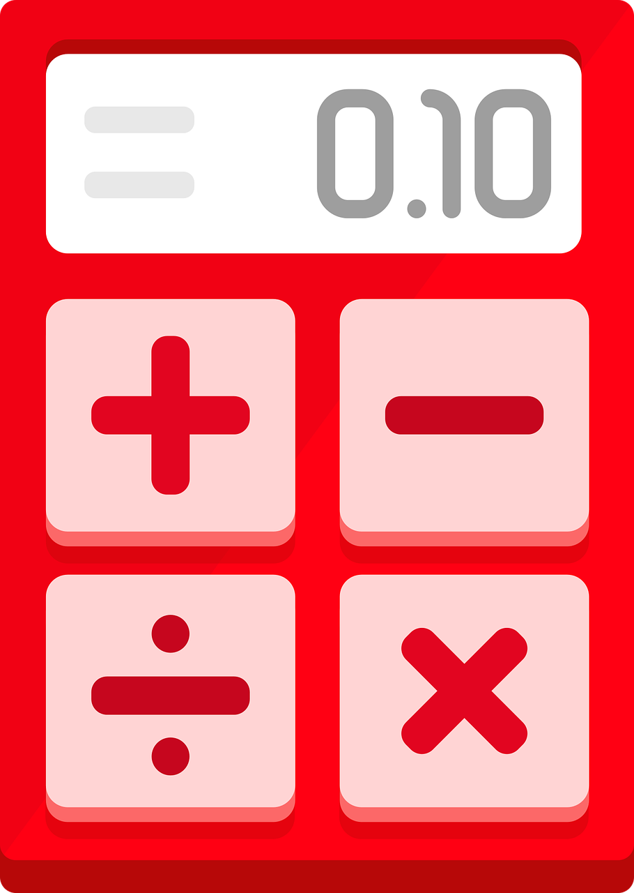 calculator red flat design free photo