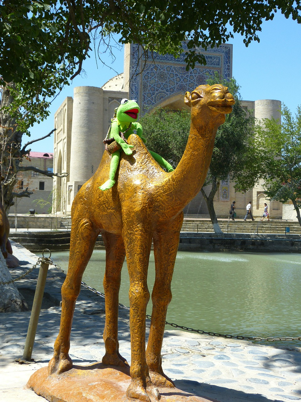 camel figure pond free photo