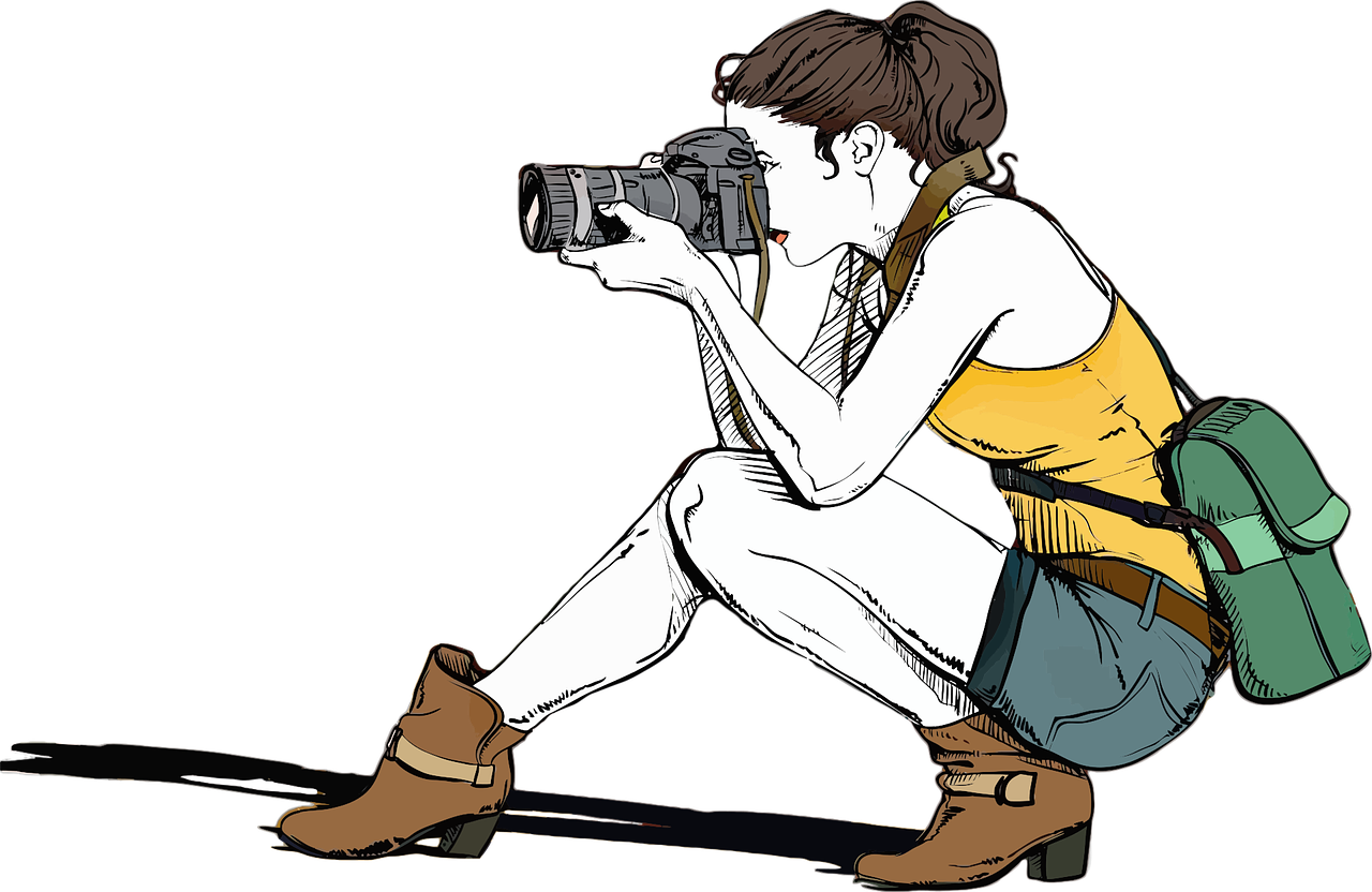 camera,female,girl,photographer,picture,people,sitting,squatting,woman,free vector graphics,free pictures, free photos, free images, royalty free, free illustrations, public domain