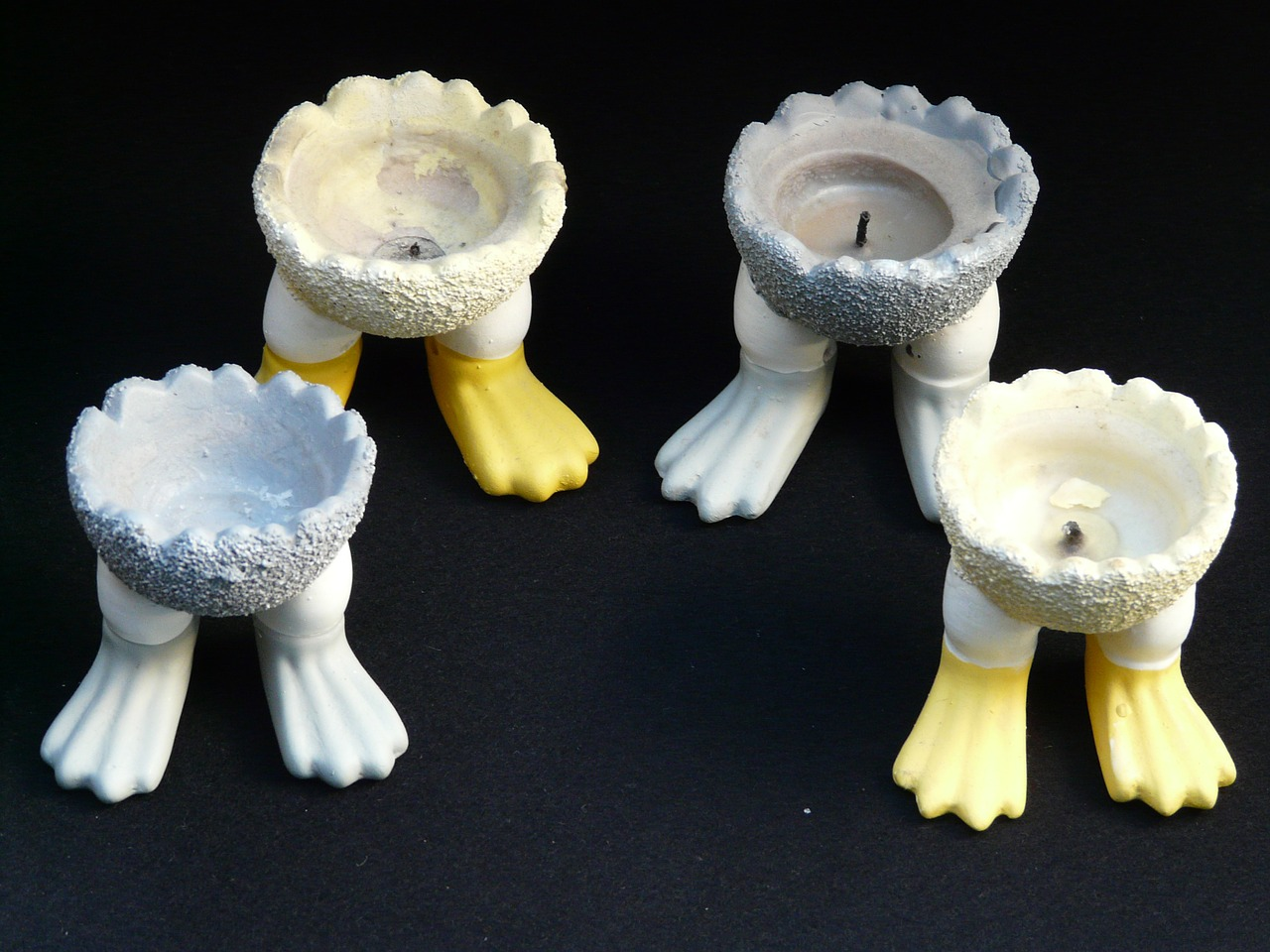 candle holders feet egg cups free photo