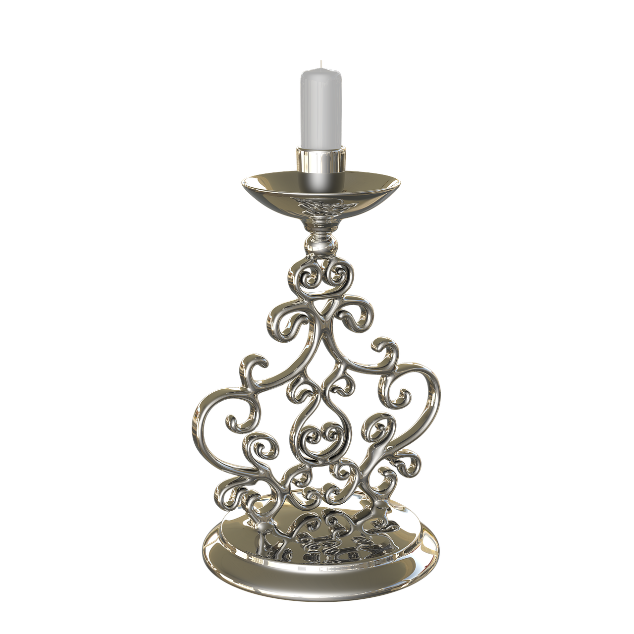 candlestick  candle  chrome free photo