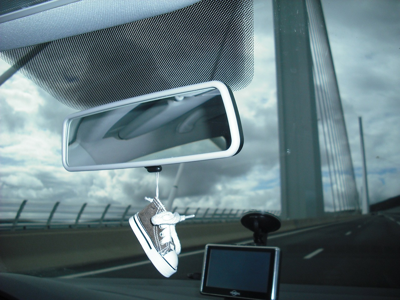 car pont millau rear view mirror free photo