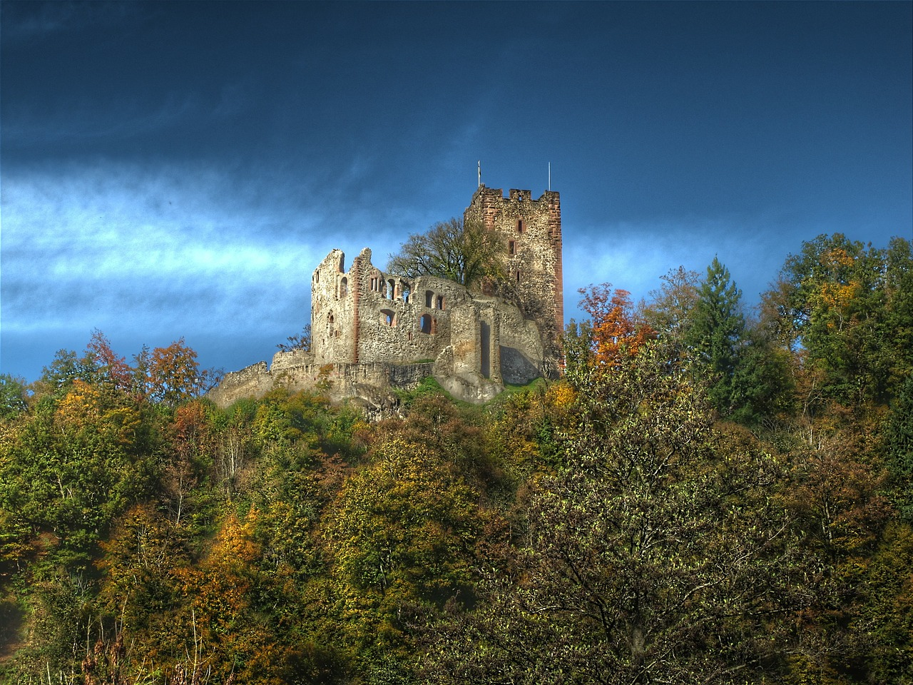 castellated castle waldkirch autumn free photo